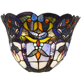 River Of Goods Tiffany-style Stained Glass Remote Controlled 9-bulb LED Wall Sconce
