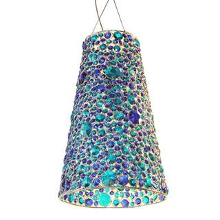 River Of Goods Jeweled Cone Shaped Colored Glass 19-inch Hanging Lamp
