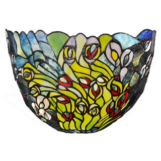 River Of Goods Evening Peacock Art Glass 7.75-inch Wireless LED Wall Sconce