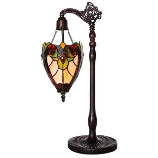 River Of Goods Halston Ivory Stained Glass 22.75-inch Sidearm Pendant Table Lamp