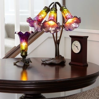 River of Goods Purple and Green Mercury Glass Lily Shades and Hand Cast Metal Base Accent Lamp