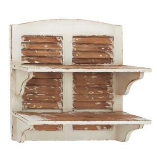 Distressed Wood Double-decker Wall Shelf