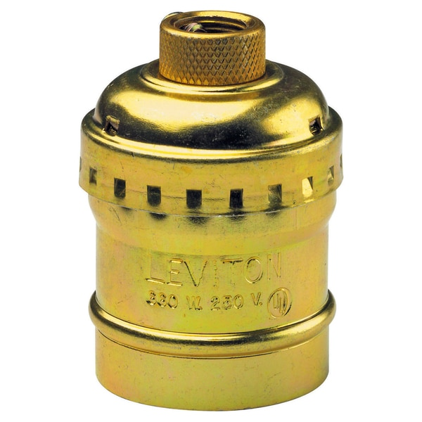 Leviton 014-9347-PG Polished Brass Switchless Lamp Socket