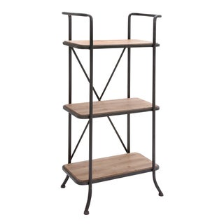 Metal and Wood Black and Brown Shelf