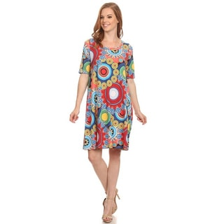 Women's Multicolor Polyester and Spandex Medallion Relaxed Fit A-line Dress
