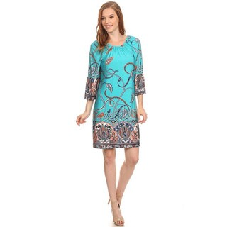 Women's Multicolor Polyester and Spandex Round-neck A-line Tapestry Paisley Dress