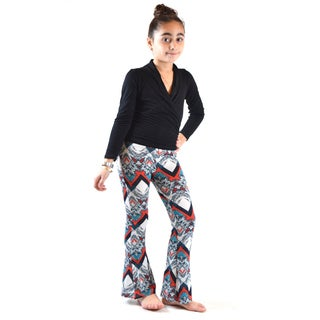 Girl's Multicolor Polyester and Spandex Printed Soft Bell Bottom Pants