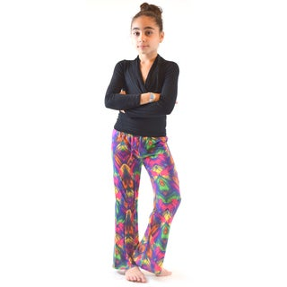 Big Girls' Multicolored Polyester and Spandex Wrinkle-resistant Palazzo Pants