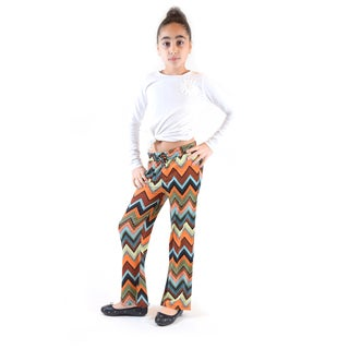Girls' Golden/Black/Multicolored Jersey Palazzo Pants