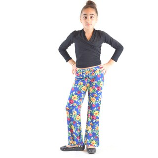 Golden Black Big Girls' Printed Polyester Wrinkle Resistant Palazzo Pants