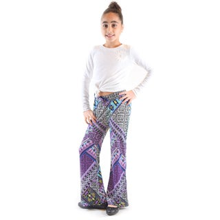 Girl's Golden Black Printed Jersey Palazzo Pants