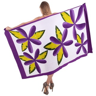 La Leela Women's Purple Rayon 78-inch x 43-inch Clematis Beach Cover-up Sarong With Free Clip