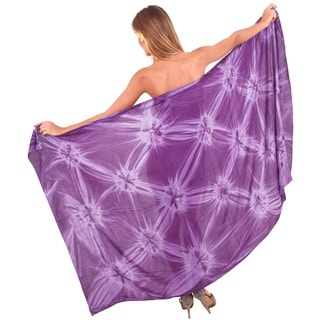 La Leela Smooth Rayon Hand Tie Dye Cover up Pareo Women Sarong 78X43 Inch Purple