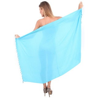 La Leela Gentle Rayon Solid Tassels ,Shells Cover up Sarong 70X43 Inch Turquoise