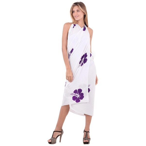 Women's Pareo Dress Wrap Hawaiian Purple Hibiscus Sarong Cover-up