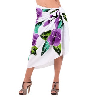 La Leela Women's Orchid Cluster Purple Rayon 78-inch x 43-inch Sarong Cover-up With Free Sarong Clip