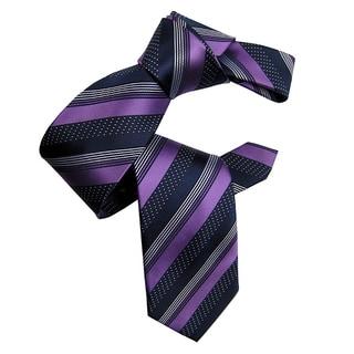 Dmitry Men's Italian Purple Silk Striped Tie