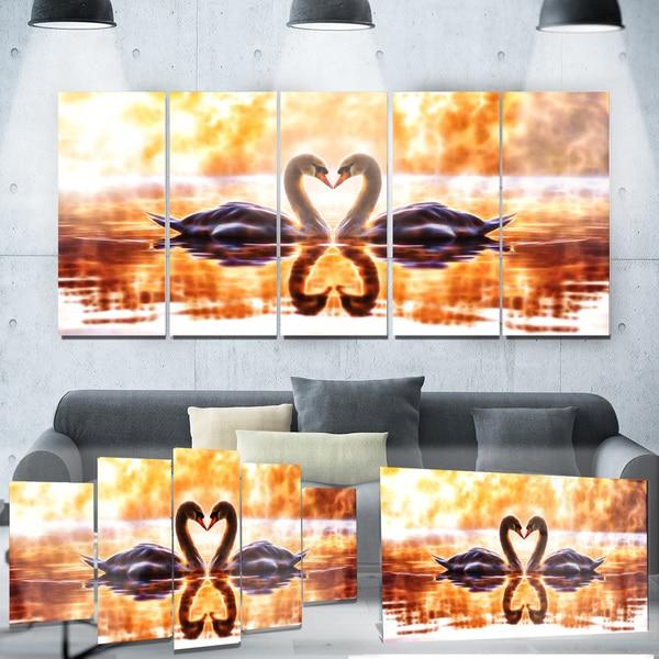 Designart 'Swooning Swans' Romantic Swan Metal Wall Art