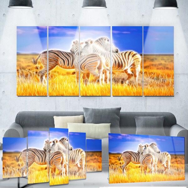 Designart 'Zebra Duo on Metal Wall Art