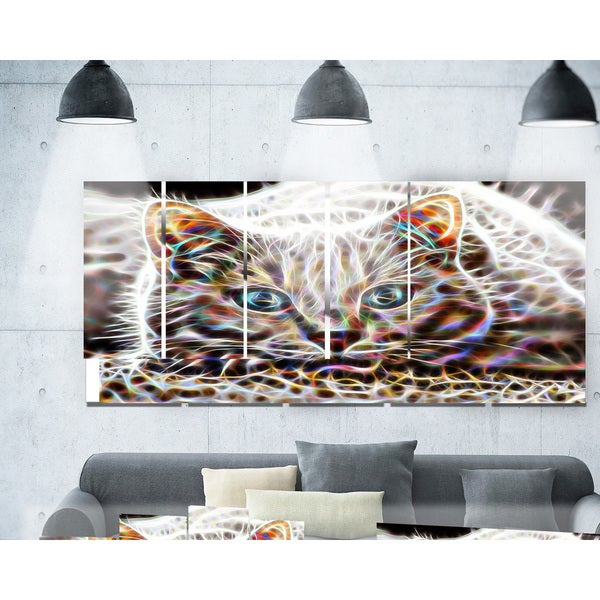 Designart 'Cat Nap' Abstract Cat Metal Wall Art