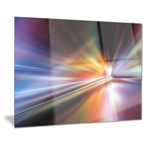 Designart 'Rays of Speed Purple' Abstract Digital Art Metal Wall Art 18688319