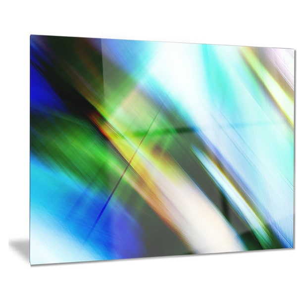 Designart 'Rays of Speed Blue Green' Abstract Digital Art Metal Wall Art 18688425