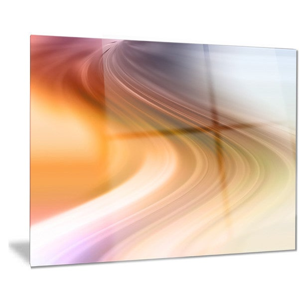 Designart 'Rays of Speed Green Orange' Abstract Digital Metal Wall Art 18688496