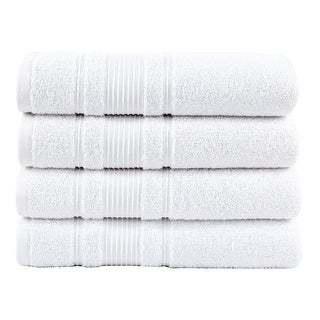 Berrnour Home Solomon Collection Bordered Design 27 inches X 52 inches Luxury Bath Towel (set of 4)