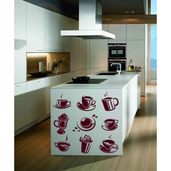 Cups with coffee and tea Wall Art Sticker Decal Red 18689833