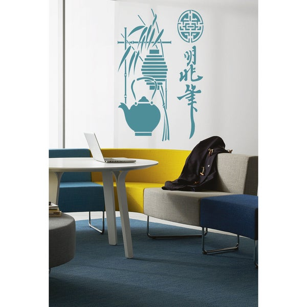 Sushi bar a restaurant tea Wall Art Sticker Decal Blue