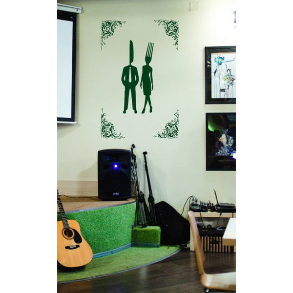 Man knife fork woman Wall Art Sticker Decal Green