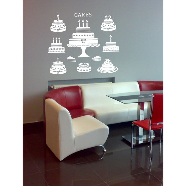 The beautiful decoration of cakes Wall Art Sticker Decal White