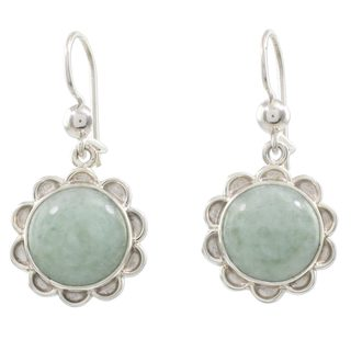 Sterling Silver 'Solar Apple Flower' Jade Earrings (Guatemala)