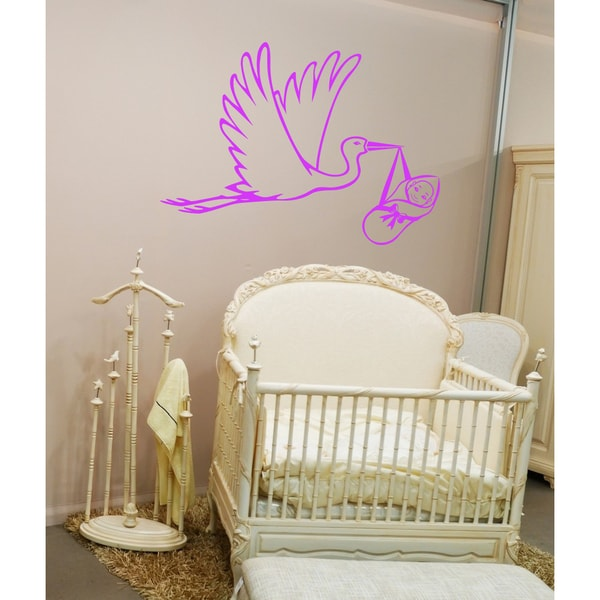 Flying stork with a baby Wall Art Sticker Decal Pink