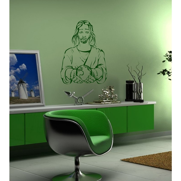 Jesus God deity planet Earth a life Wall Art Sticker Decal Green