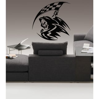 Death skull scythe Flag Wall Art Sticker Decal