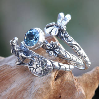 Handmade Dragonly and Frog Set of 3 Sterling Silver 'Garden of Eden' Topaz Rings (Indonesia) - Blue