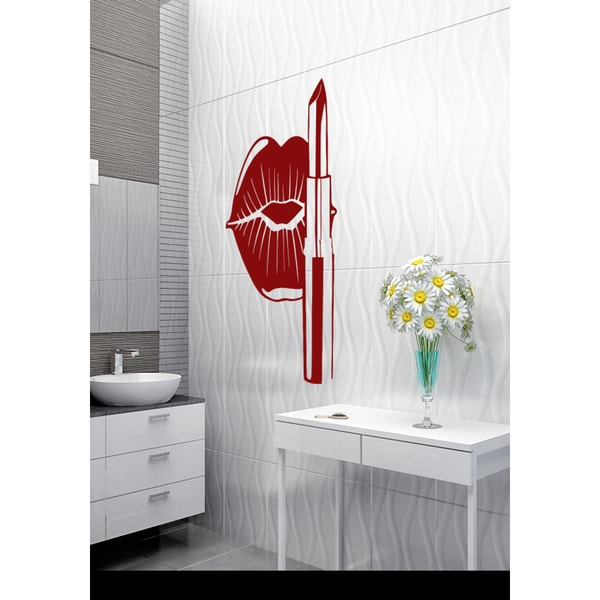 Beautiful lips and lipstick Wall Art Sticker Decal Red