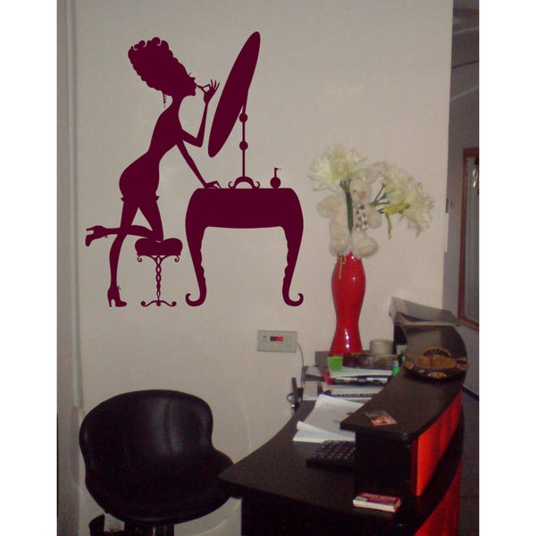 Girl paints her lips Wall Art Sticker Decal Red 18691257