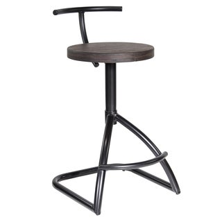 LumiSource Industrial Black Metal with Espresso Wood Seat Counter Stool