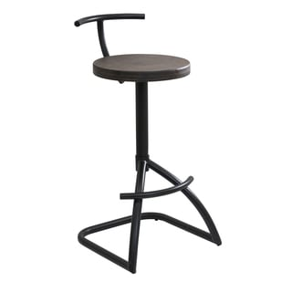 Mantis Industrial-style Black Metal Barstool with Espresso Wood Seat