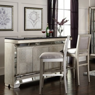 Celine Wood and Stone Bar in Silver Finish