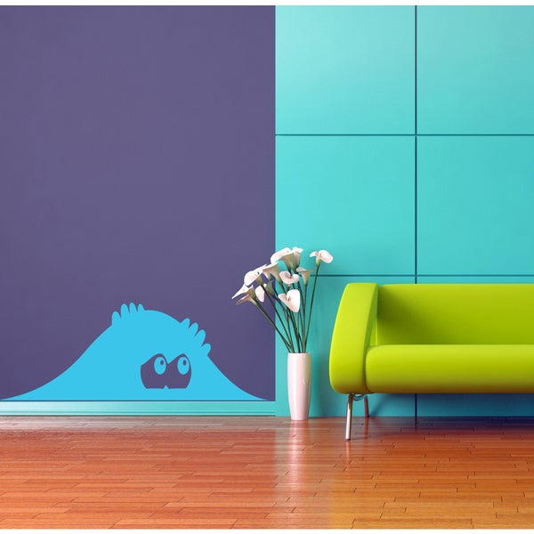 Funny pry monster lock peepers eyes Wall Art Sticker Decal Blue