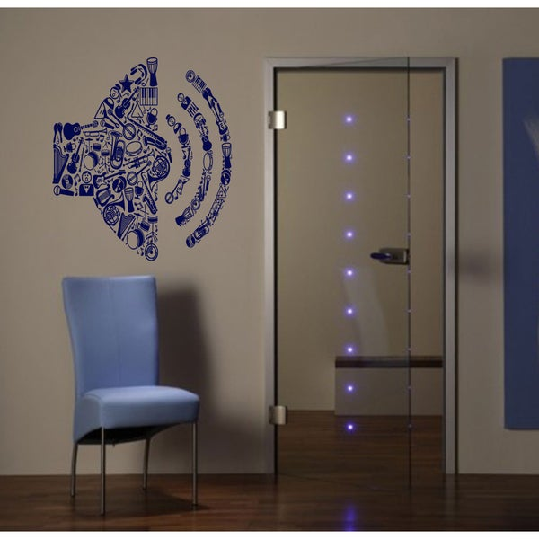 Music musical instruments guitar volume Wall Art Sticker Decal Blue