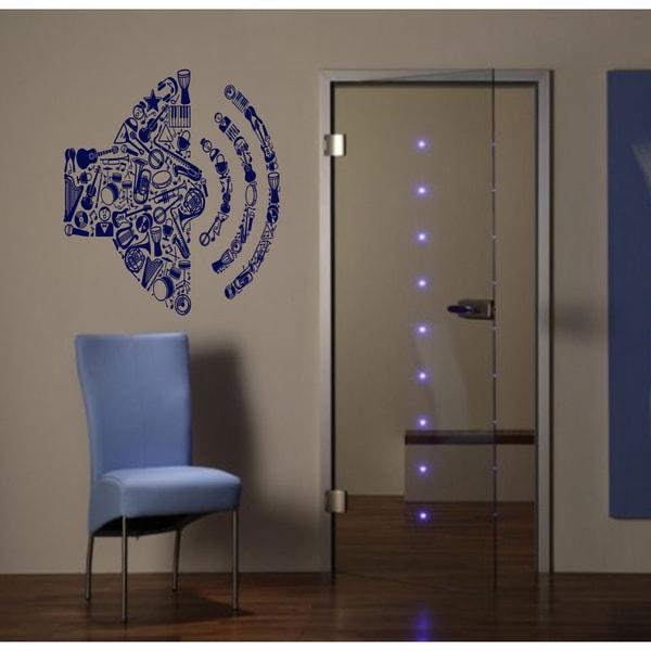 Music musical instruments guitar volume Wall Art Sticker Decal Blue