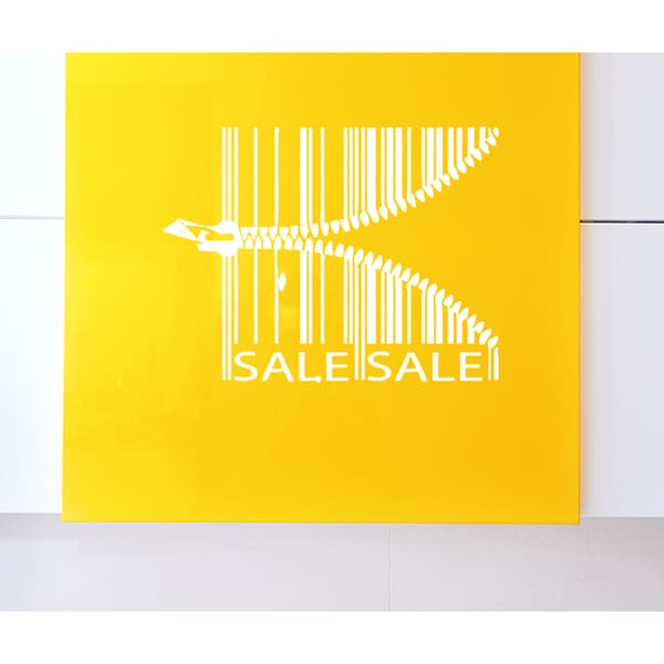 Sale barcode Zips clasp Wall Art Sticker Decal White