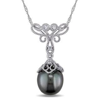 Miadora 14k White Gold Black Tahitian Pearl and Diamond Accent Filigree Drop Necklace (9-9.5 mm)