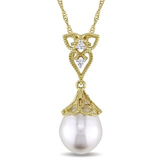 Miadora 14k Yellow Gold White Cultured Freshwater Pearl and Diamond Accent Filigree Drop Necklace (9-9.5 mm)