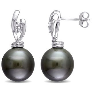 Miadora Signature Collection 14k White Gold Black Tahitian Pearl and Diamond Accent Twist Drop Earrings