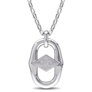 George Marciano by Miadora Sterling Silver Fleur de Lis Link Necklace